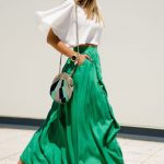 Flowy green skirt and white top