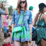 Green and blue skater dress with denim jacket and green Chanel crossbody bag