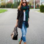 Green metalic shoes and long scarf outfit