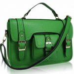 Ladies Leather Style Satchel Messenger Crossbody Handbag