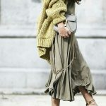 Lime knit sweater with olive skirt
