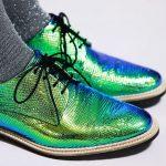 Miista Zoe Dragonfly iridescent green oxfords