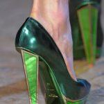 YSL green metallic high heel shoes