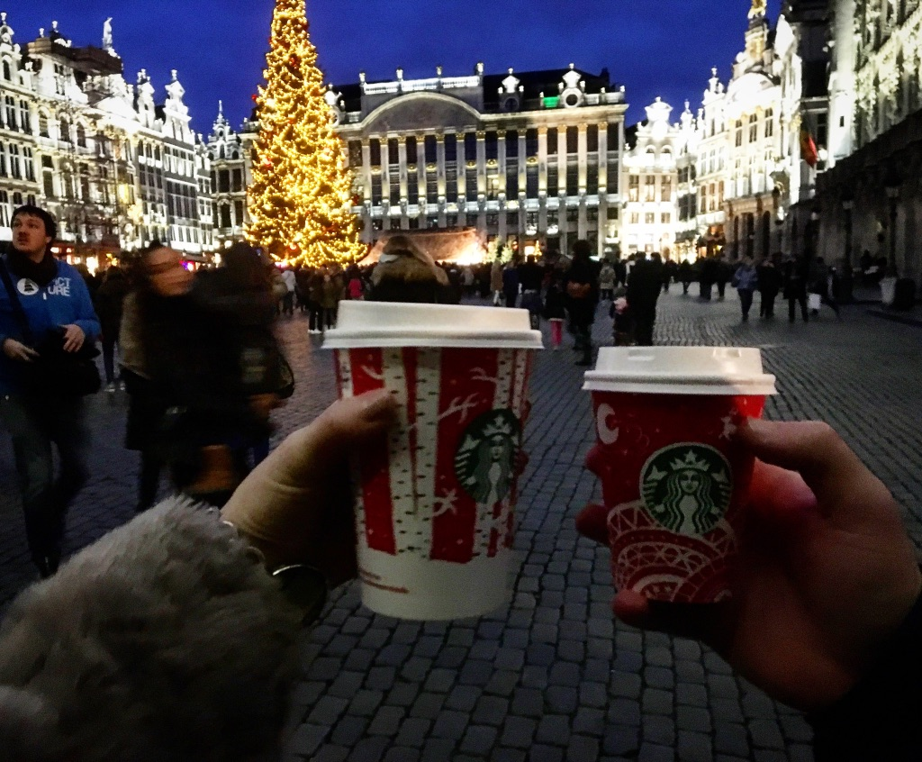 Starbucks coffe in the red winter edition cups at the Christmas market in Brussels 2016