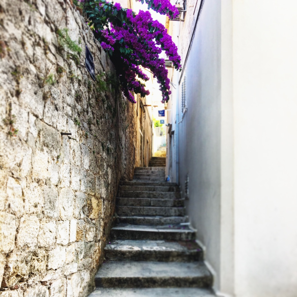 Stone staircases on the streets of Korcula old town, summer 2016