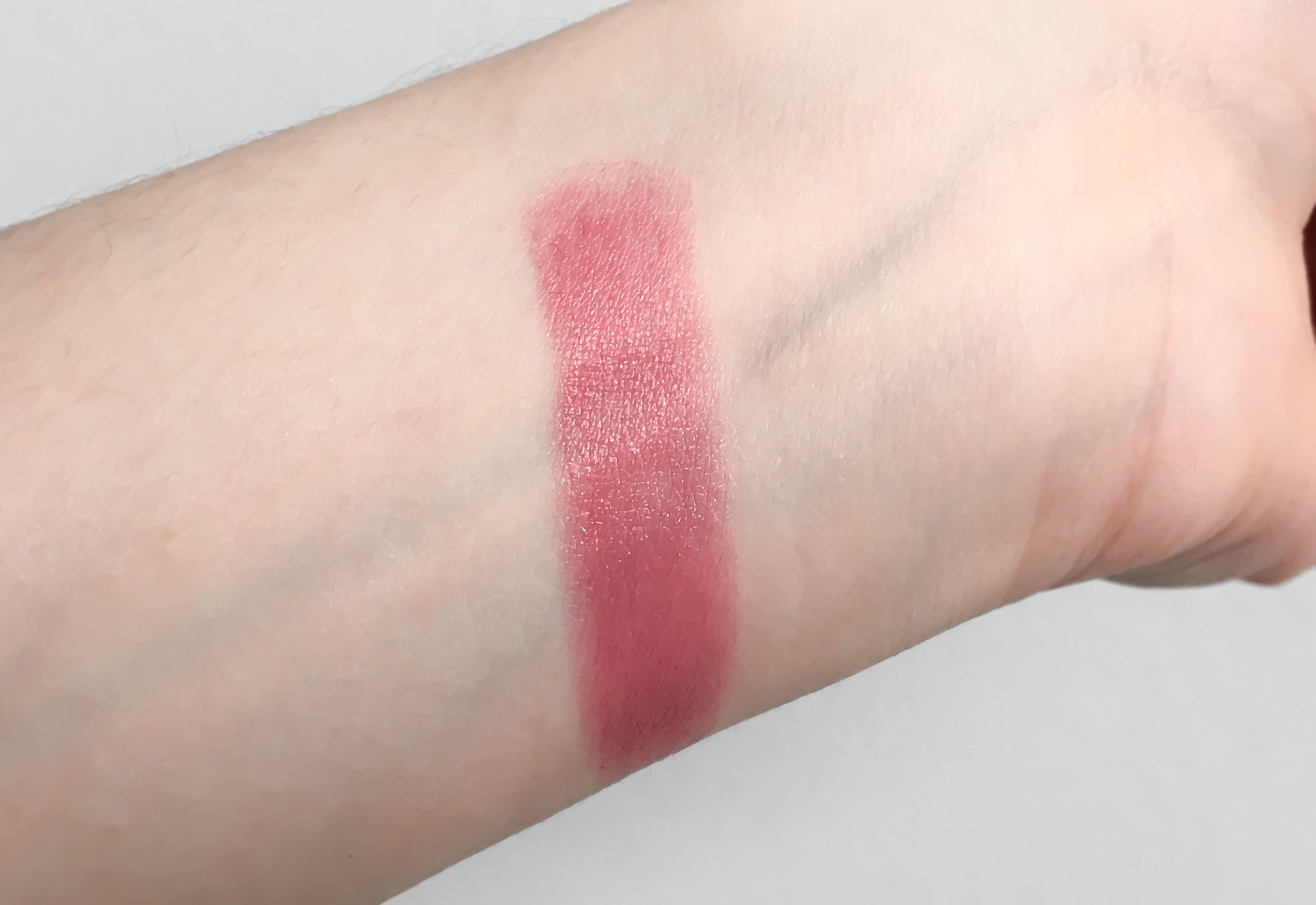 Lancome L'Absolu Rouge 354 Rose Rhapsodie lipstick swatch on hand