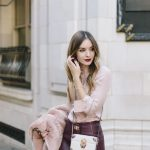 baby pink fashion trend with burgundy touch