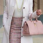 business pink tweed pencil skirt