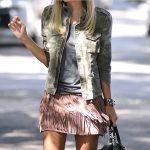 dusk rose mini skirt with fringes