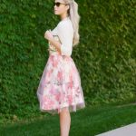 floral print tulle pink midi skirt