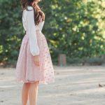 light pink sheer polka dot midi skirt