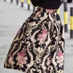 midi floral skirt and hot pink heels