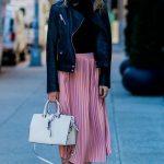 midi pink metallic skirt with metallic flats