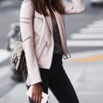 pink leather jacket fashion trend with a Gucci bag