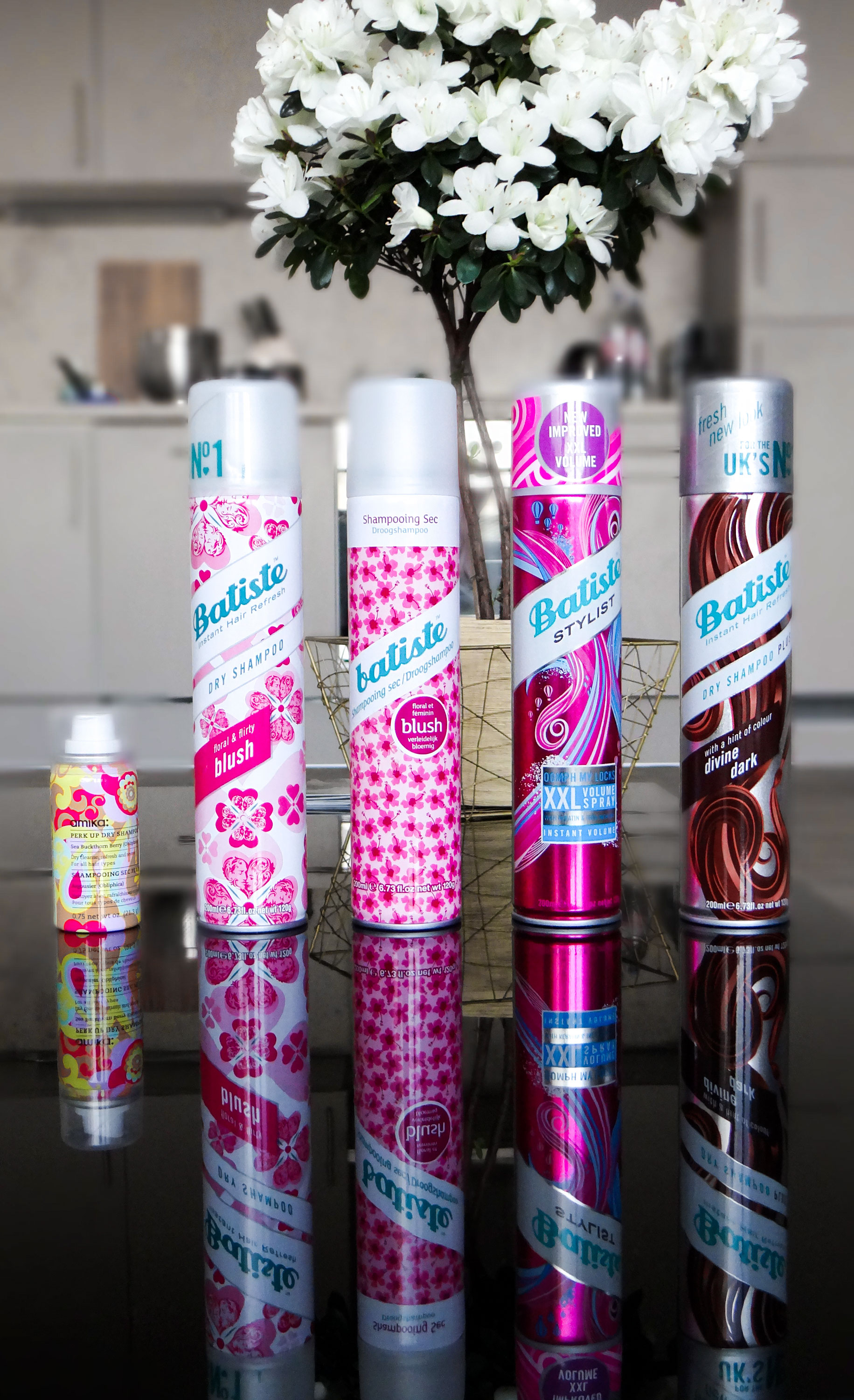 Batiste and Amika dry shampoos