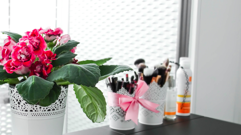 IKEA Brimnes vanity desk Cydonia gloxinia flower